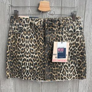Leopard mini jean skirt NEW WITH TAGS